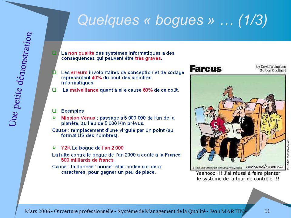Mars 2006 - Ouverture professionnelle - Système de Management de la Qualité - Jean MARTIN - QUALITE 11 Quelques « bogues » … (1/3) Une petite démonstr