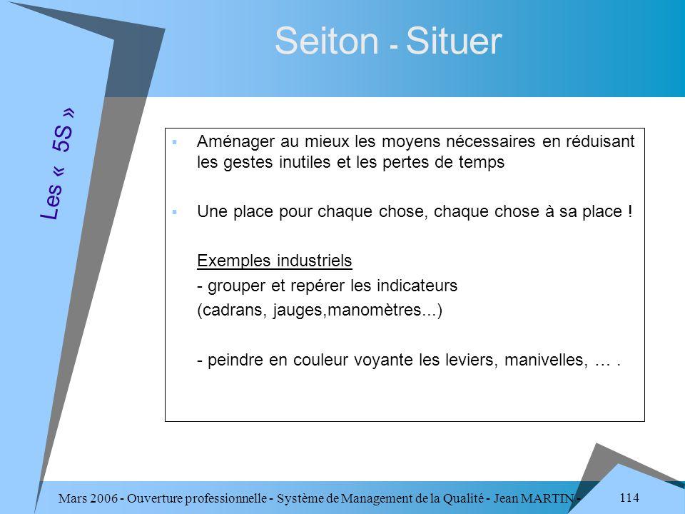 Mars 2006 - Ouverture professionnelle - Système de Management de la Qualité - Jean MARTIN - QUALITE 114 Seiton - Situer Aménager au mieux les moyens n
