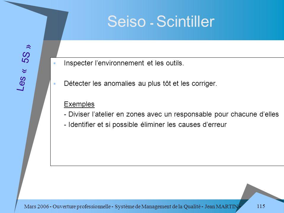 Mars 2006 - Ouverture professionnelle - Système de Management de la Qualité - Jean MARTIN - QUALITE 115 Seiso - Scintiller Inspecter lenvironnement et