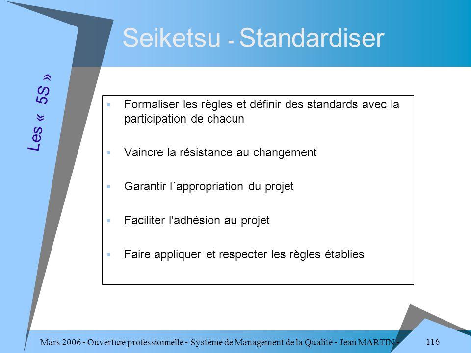 Mars 2006 - Ouverture professionnelle - Système de Management de la Qualité - Jean MARTIN - QUALITE 116 Seiketsu - Standardiser Formaliser les règles