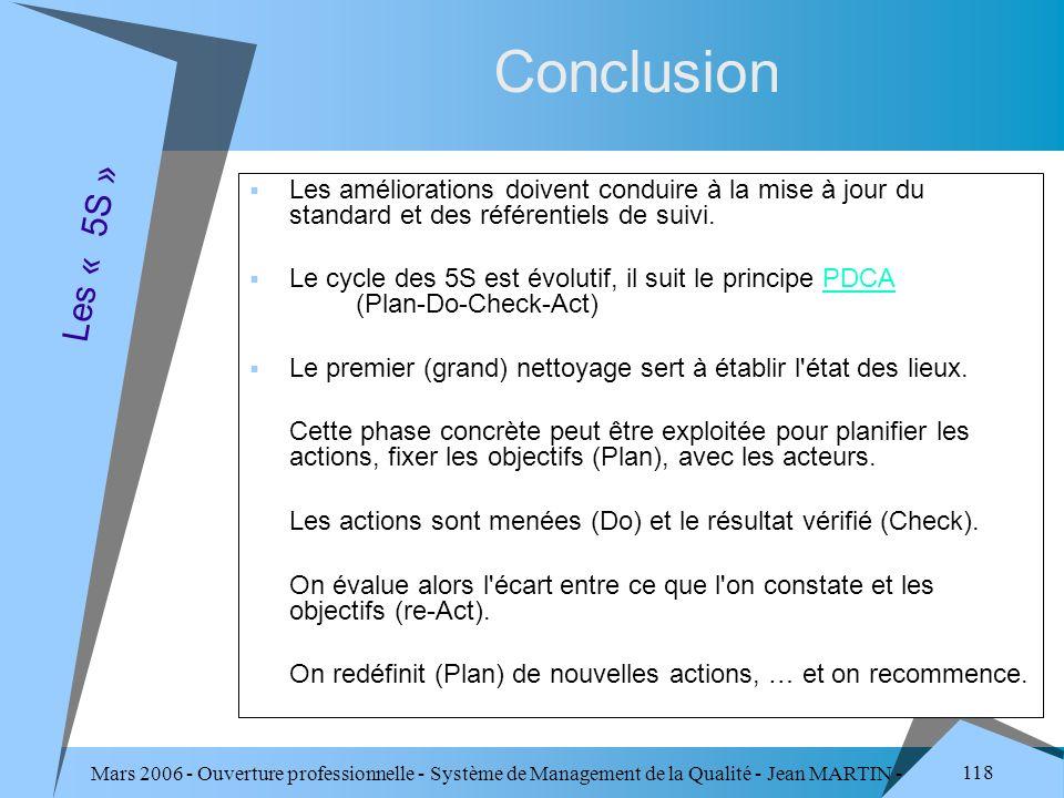 Mars 2006 - Ouverture professionnelle - Système de Management de la Qualité - Jean MARTIN - QUALITE 118 Conclusion Les améliorations doivent conduire