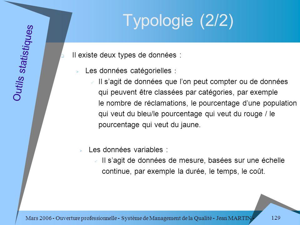 Mars 2006 - Ouverture professionnelle - Système de Management de la Qualité - Jean MARTIN - QUALITE 129 Typologie (2/2) Outils statistiques Il existe