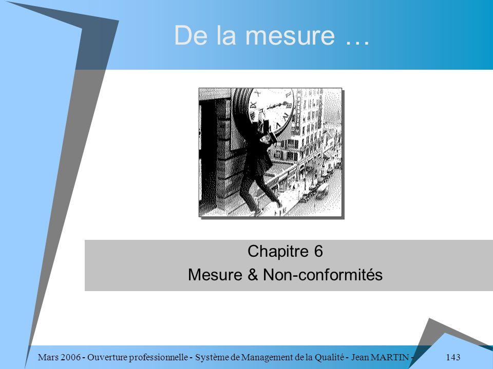 143 Mars 2006 - Ouverture professionnelle - Système de Management de la Qualité - Jean MARTIN - QUALITE Chapitre 6 Mesure & Non-conformités De la mesu