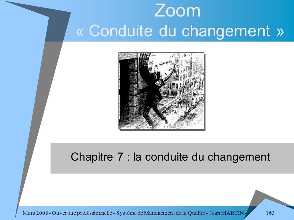 163 Mars 2006 - Ouverture professionnelle - Système de Management de la Qualité - Jean MARTIN - QUALITE Zoom « Conduite du changement » Chapitre 7 : l