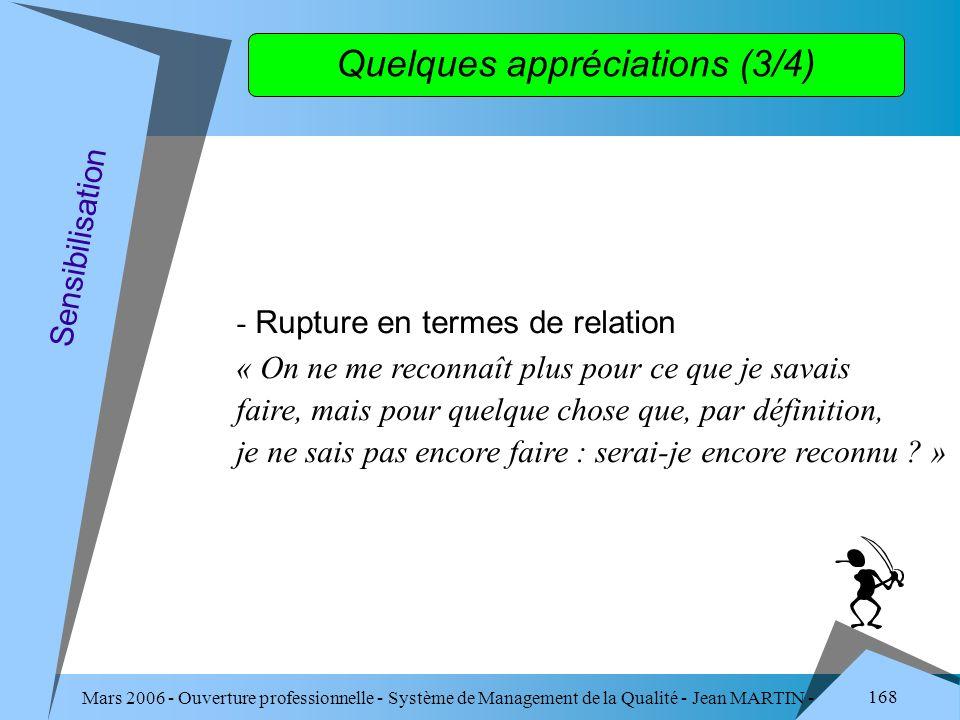 Mars 2006 - Ouverture professionnelle - Système de Management de la Qualité - Jean MARTIN - QUALITE 168 Quelques appréciations (3/4) - Rupture en term