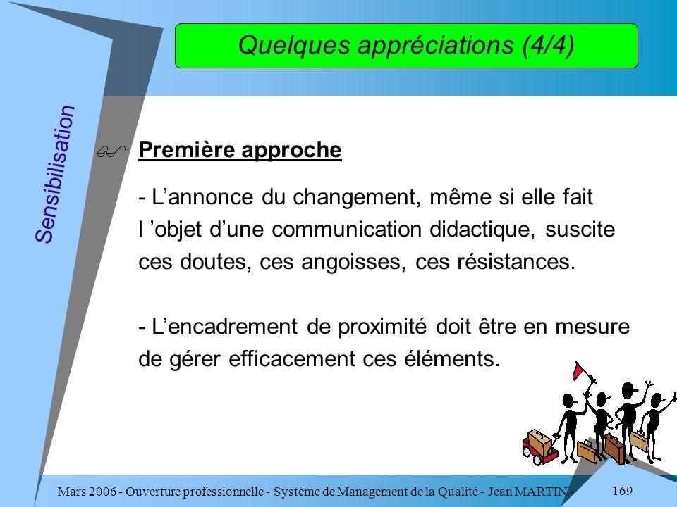 Mars 2006 - Ouverture professionnelle - Système de Management de la Qualité - Jean MARTIN - QUALITE 169 Quelques appréciations (4/4) Première approche