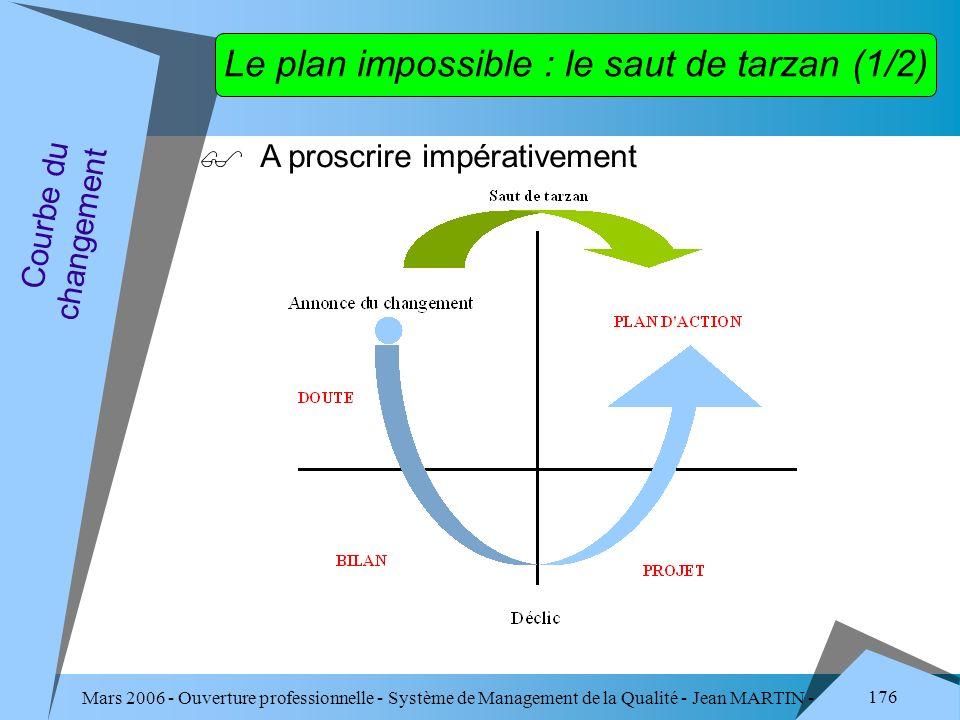Mars 2006 - Ouverture professionnelle - Système de Management de la Qualité - Jean MARTIN - QUALITE 176 Le plan impossible : le saut de tarzan (1/2) A