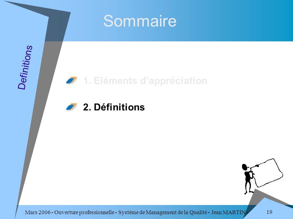 Mars 2006 - Ouverture professionnelle - Système de Management de la Qualité - Jean MARTIN - QUALITE 19 Sommaire 1. Eléments dappréciation 2. Définitio