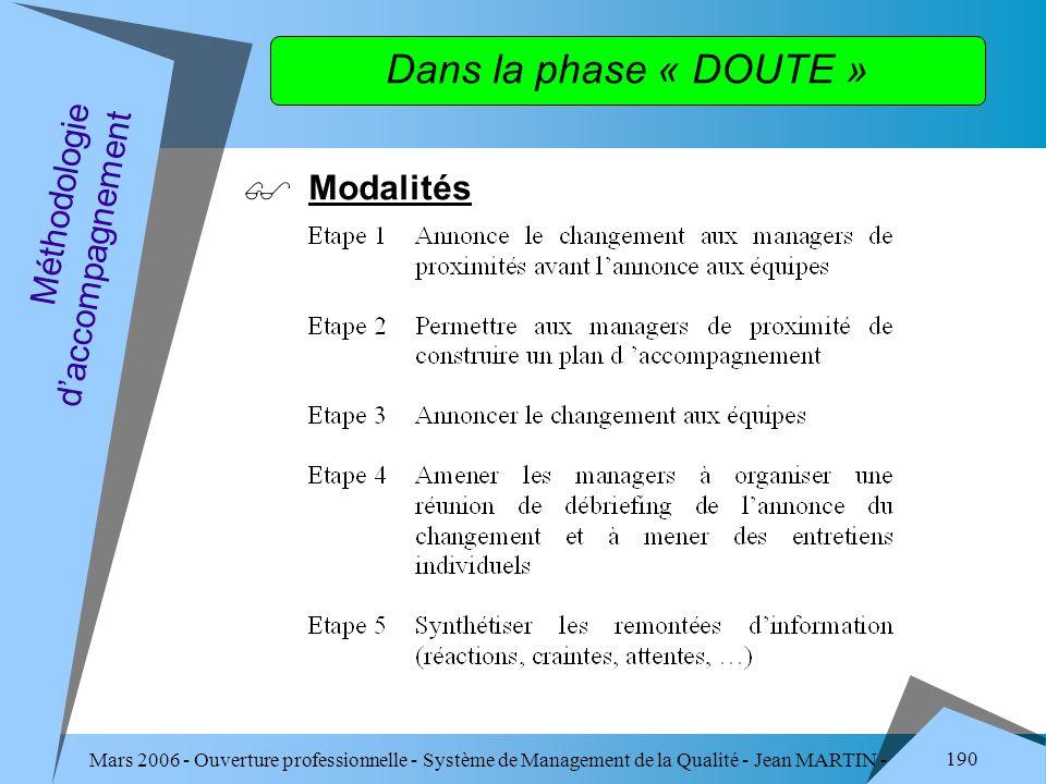 Mars 2006 - Ouverture professionnelle - Système de Management de la Qualité - Jean MARTIN - QUALITE 190 Dans la phase « DOUTE » Modalités Méthodologie