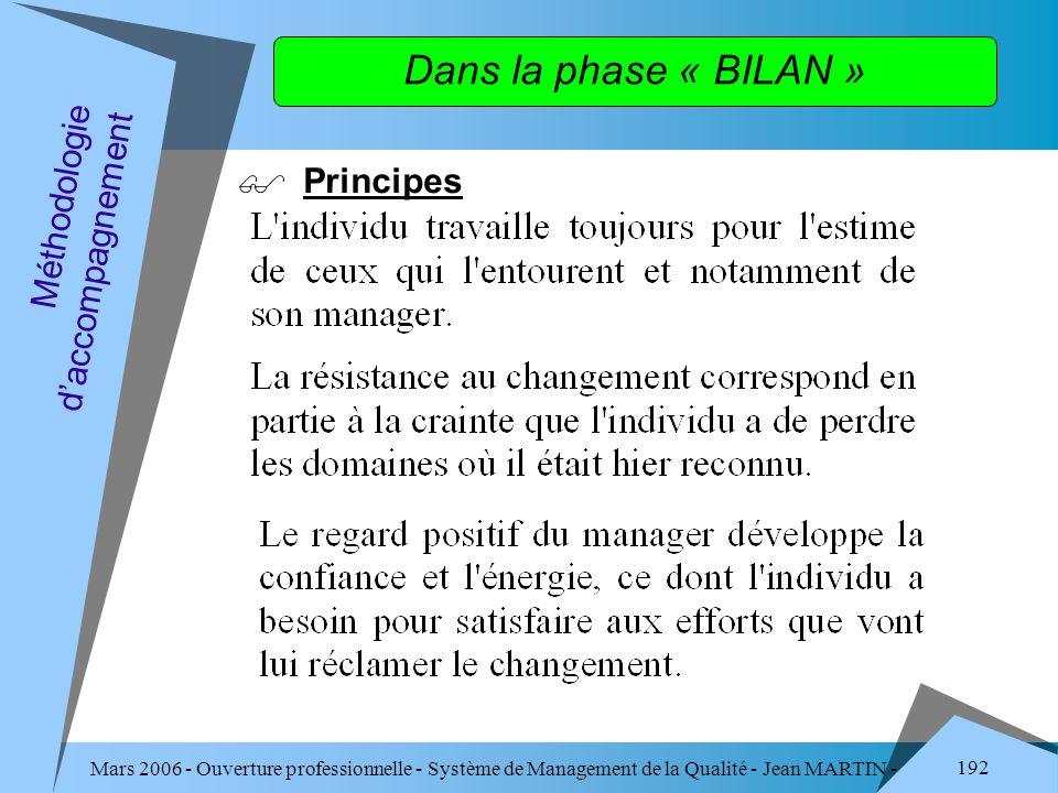 Mars 2006 - Ouverture professionnelle - Système de Management de la Qualité - Jean MARTIN - QUALITE 192 Dans la phase « BILAN » Principes Méthodologie