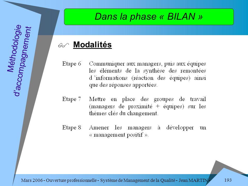 Mars 2006 - Ouverture professionnelle - Système de Management de la Qualité - Jean MARTIN - QUALITE 193 Dans la phase « BILAN » Modalités Méthodologie