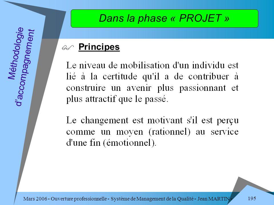 Mars 2006 - Ouverture professionnelle - Système de Management de la Qualité - Jean MARTIN - QUALITE 195 Dans la phase « PROJET » Principes Méthodologi