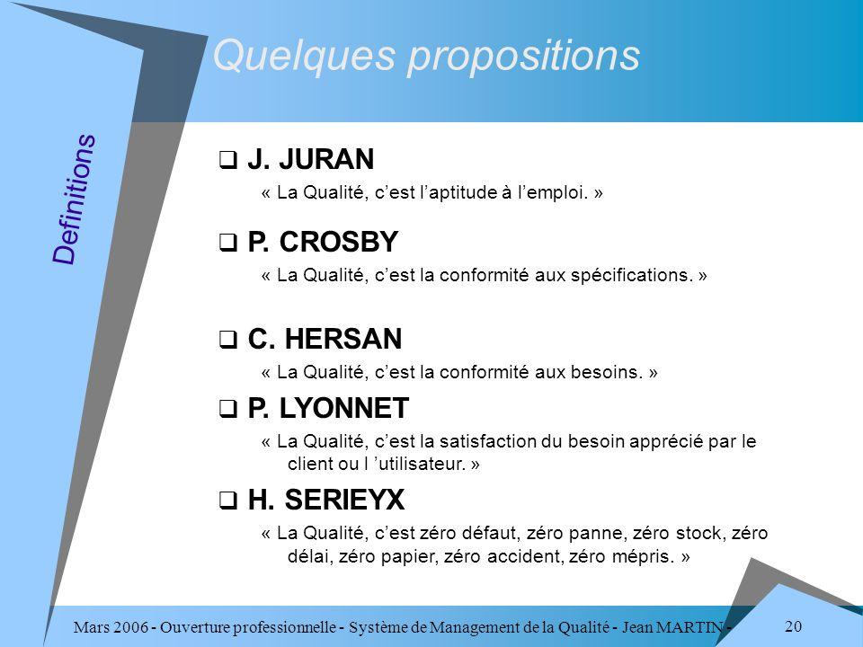 Mars 2006 - Ouverture professionnelle - Système de Management de la Qualité - Jean MARTIN - QUALITE 20 J. JURAN « La Qualité, cest laptitude à lemploi