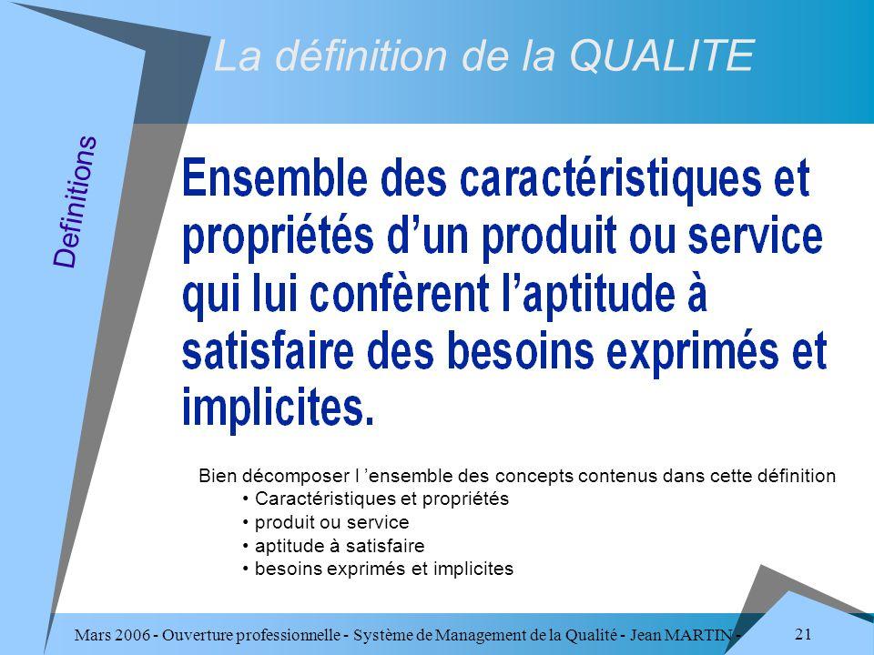 Mars 2006 - Ouverture professionnelle - Système de Management de la Qualité - Jean MARTIN - QUALITE 21 Definitions La définition de la QUALITE Bien dé