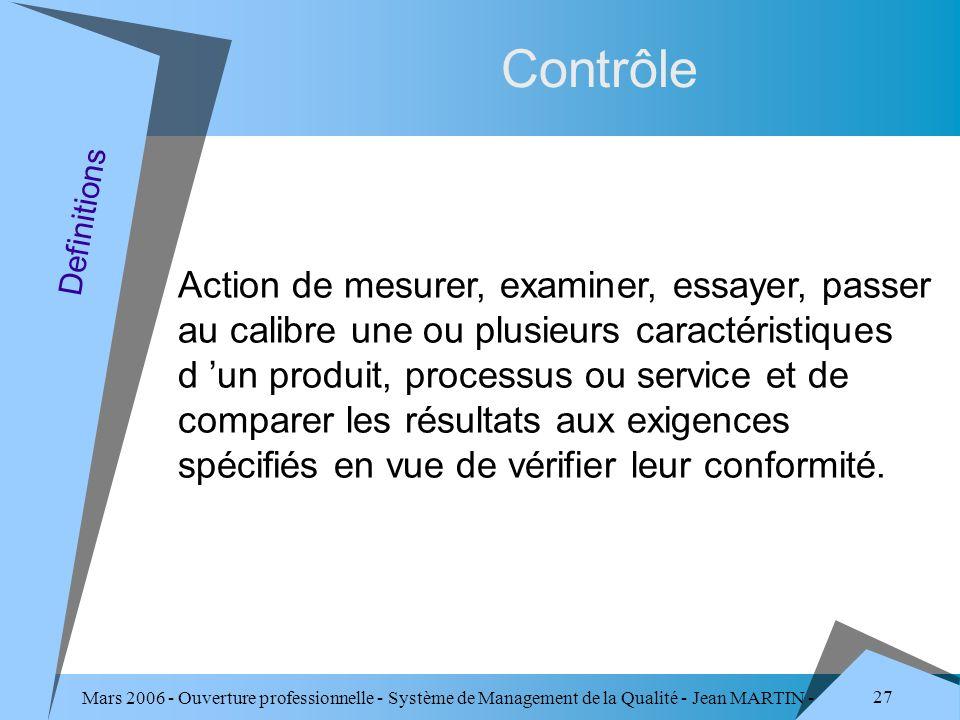 Mars 2006 - Ouverture professionnelle - Système de Management de la Qualité - Jean MARTIN - QUALITE 27 Contrôle Action de mesurer, examiner, essayer,