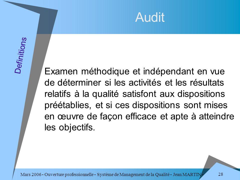 Mars 2006 - Ouverture professionnelle - Système de Management de la Qualité - Jean MARTIN - QUALITE 28 Audit Examen méthodique et indépendant en vue d