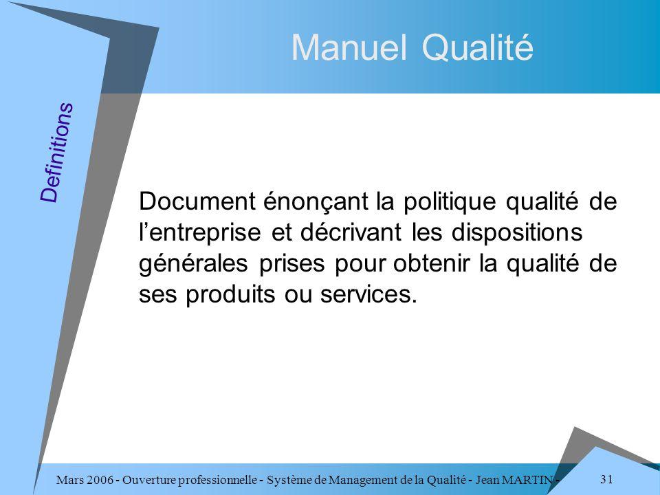 Mars 2006 - Ouverture professionnelle - Système de Management de la Qualité - Jean MARTIN - QUALITE 31 Manuel Qualité Document énonçant la politique q