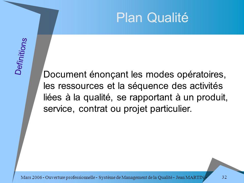 Mars 2006 - Ouverture professionnelle - Système de Management de la Qualité - Jean MARTIN - QUALITE 32 Plan Qualité Document énonçant les modes opérat