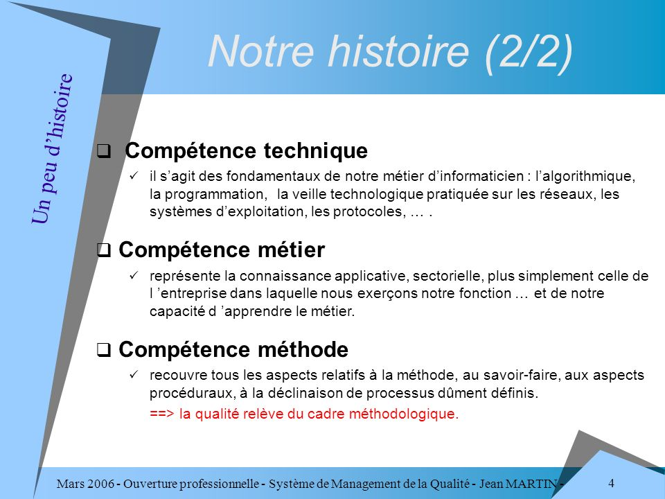 Mars 2006 - Ouverture professionnelle - Système de Management de la Qualité - Jean MARTIN - QUALITE 4 Compétence technique il sagit des fondamentaux d