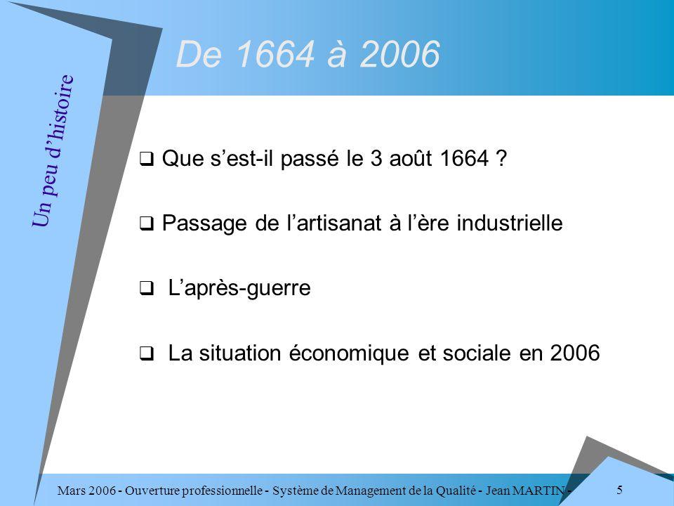 Mars 2006 - Ouverture professionnelle - Système de Management de la Qualité - Jean MARTIN - QUALITE 166 Quelques appréciations (1/4) Constats - L individu ne craint pas le changement, il refuse la régression.