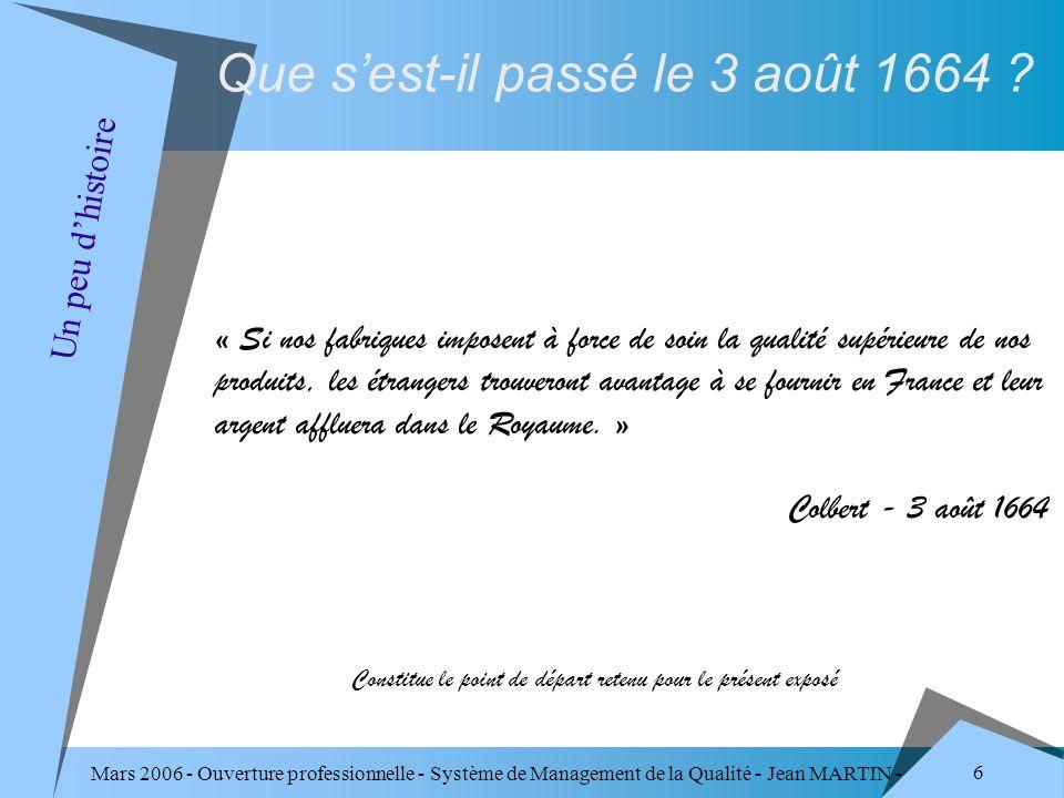 Mars 2006 - Ouverture professionnelle - Système de Management de la Qualité - Jean MARTIN - QUALITE 87 Responsabilité de la direction Management des ressources Réalisation du produit Mesures, analyses et amélioration Les 4 domaines de la norme ISO 9001 version 2000 La norme ISO 9001 version 2000