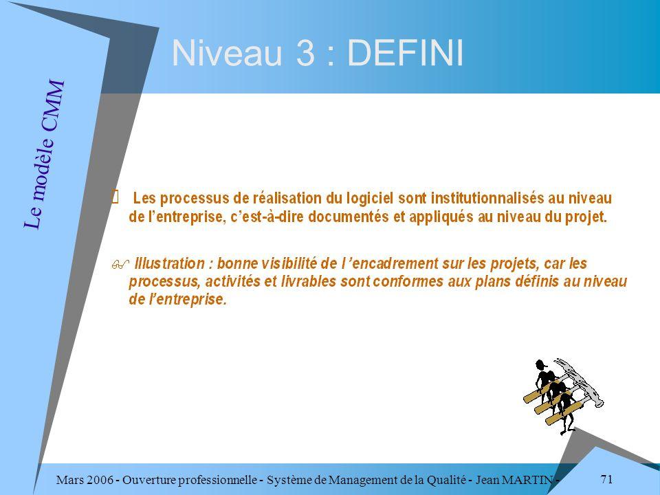 Mars 2006 - Ouverture professionnelle - Système de Management de la Qualité - Jean MARTIN - QUALITE 71 Niveau 3 : DEFINI Le modèle CMM