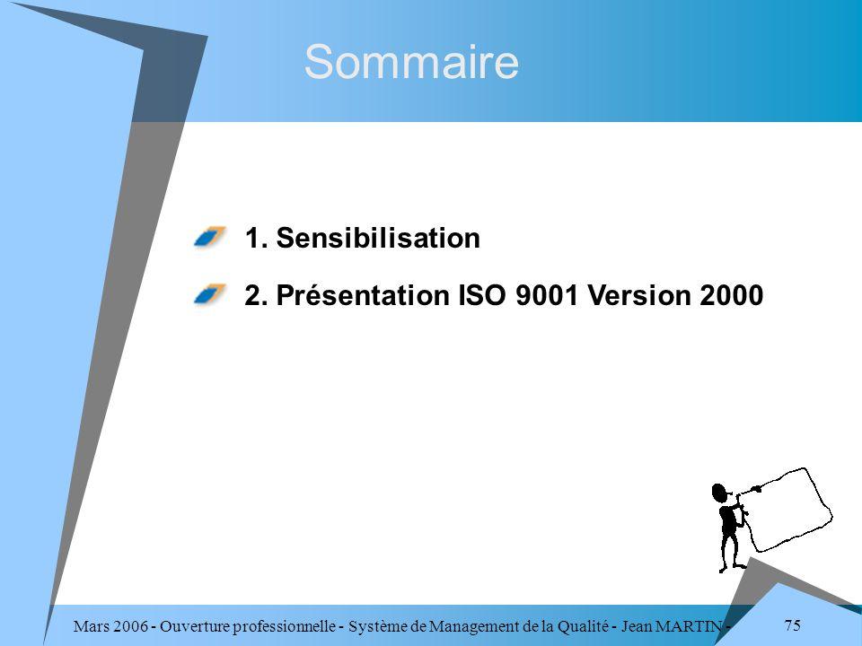 Mars 2006 - Ouverture professionnelle - Système de Management de la Qualité - Jean MARTIN - QUALITE 75 Sommaire 1. Sensibilisation 2. Présentation ISO