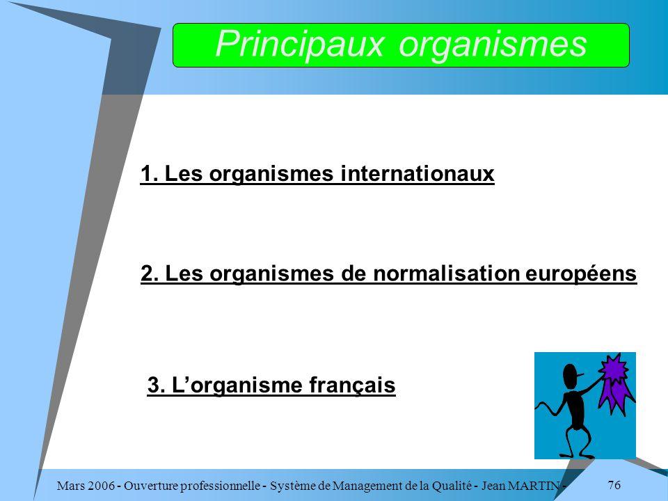 Mars 2006 - Ouverture professionnelle - Système de Management de la Qualité - Jean MARTIN - QUALITE 76 1. Les organismes internationaux 2. Les organis