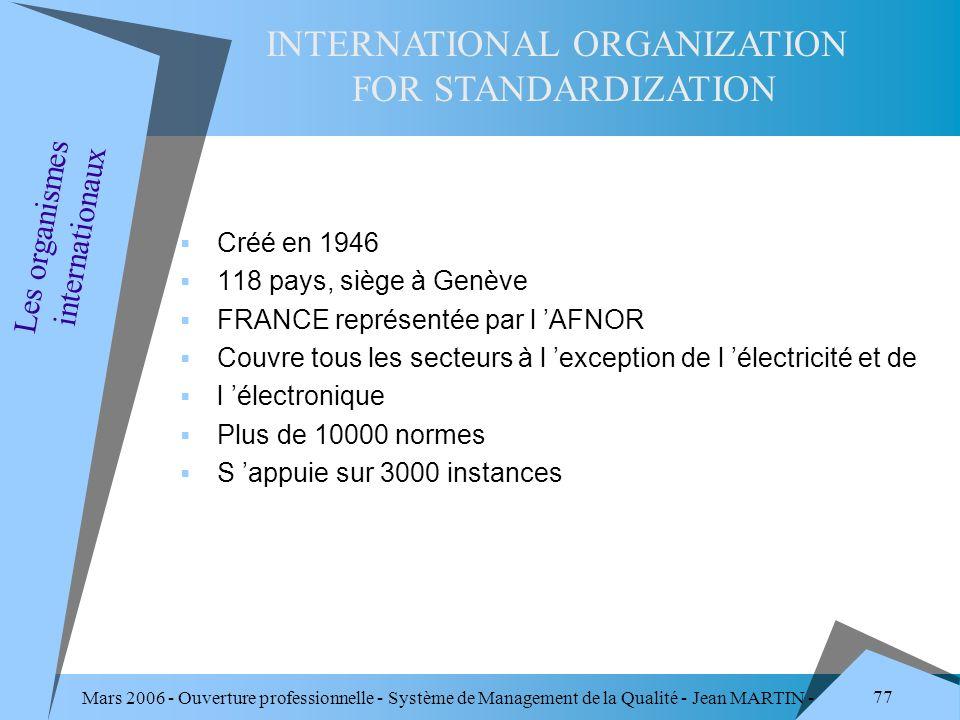 Mars 2006 - Ouverture professionnelle - Système de Management de la Qualité - Jean MARTIN - QUALITE 77 Créé en 1946 118 pays, siège à Genève FRANCE re