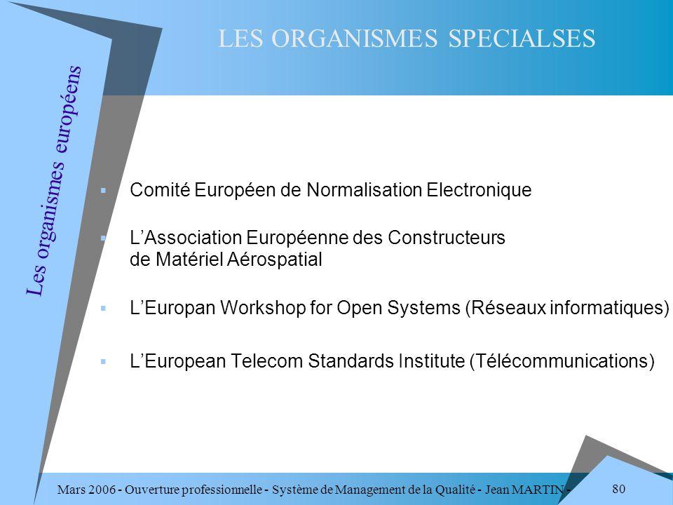 Mars 2006 - Ouverture professionnelle - Système de Management de la Qualité - Jean MARTIN - QUALITE 80 Comité Européen de Normalisation Electronique L