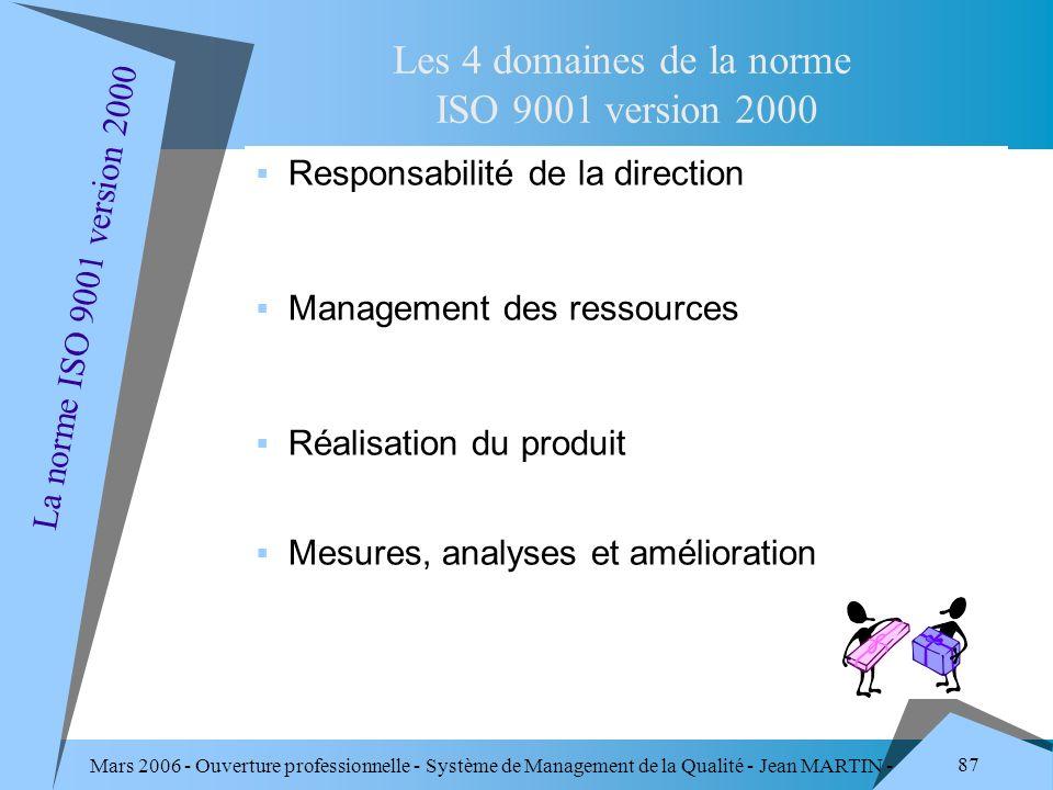 Mars 2006 - Ouverture professionnelle - Système de Management de la Qualité - Jean MARTIN - QUALITE 87 Responsabilité de la direction Management des r
