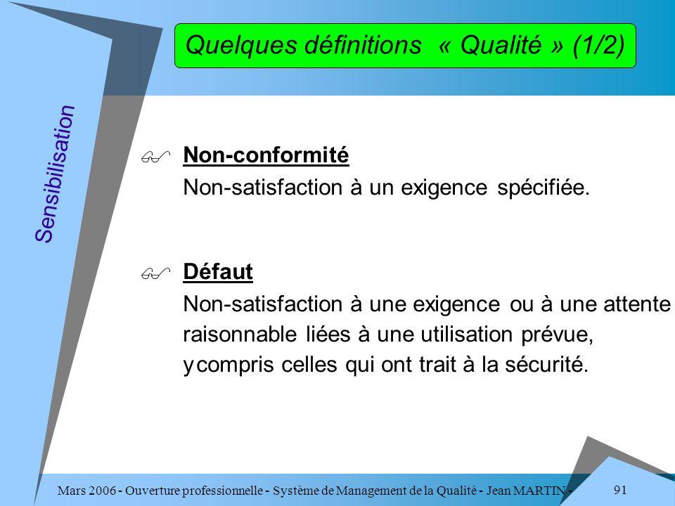 Mars 2006 - Ouverture professionnelle - Système de Management de la Qualité - Jean MARTIN - QUALITE 91 Quelques définitions « Qualité » (1/2) Non-conf