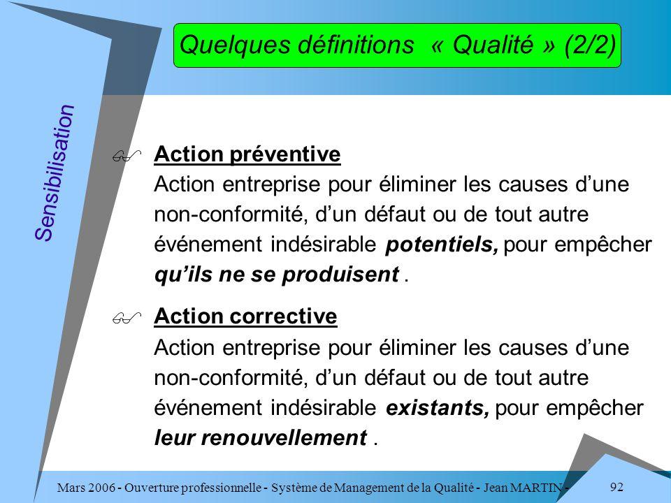Mars 2006 - Ouverture professionnelle - Système de Management de la Qualité - Jean MARTIN - QUALITE 92 Quelques définitions « Qualité » (2/2) Action p
