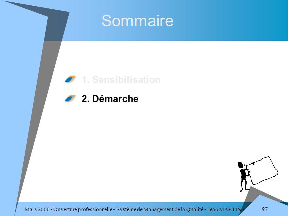 Mars 2006 - Ouverture professionnelle - Système de Management de la Qualité - Jean MARTIN - QUALITE 97 Sommaire 1. Sensibilisation 2. Démarche