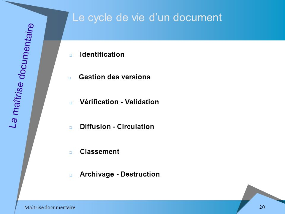 Maîtrise documentaire 20 Le cycle de vie dun document La maîtrise documentaire Identification Gestion des versions Vérification - Validation Diffusion - Circulation Classement Archivage - Destruction