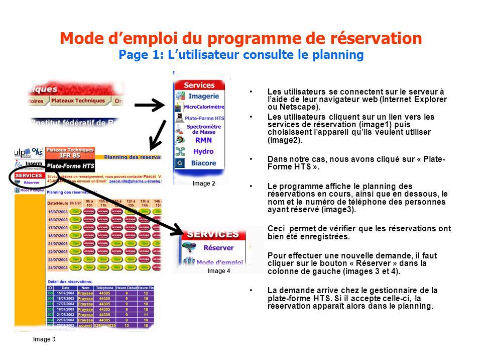 Mode demploi du programme de réservation Page 1: Lutilisateur consulte le planning Les utilisateurs se connectent sur le serveur à laide de leur navigateur web (Internet Explorer ou Netscape).