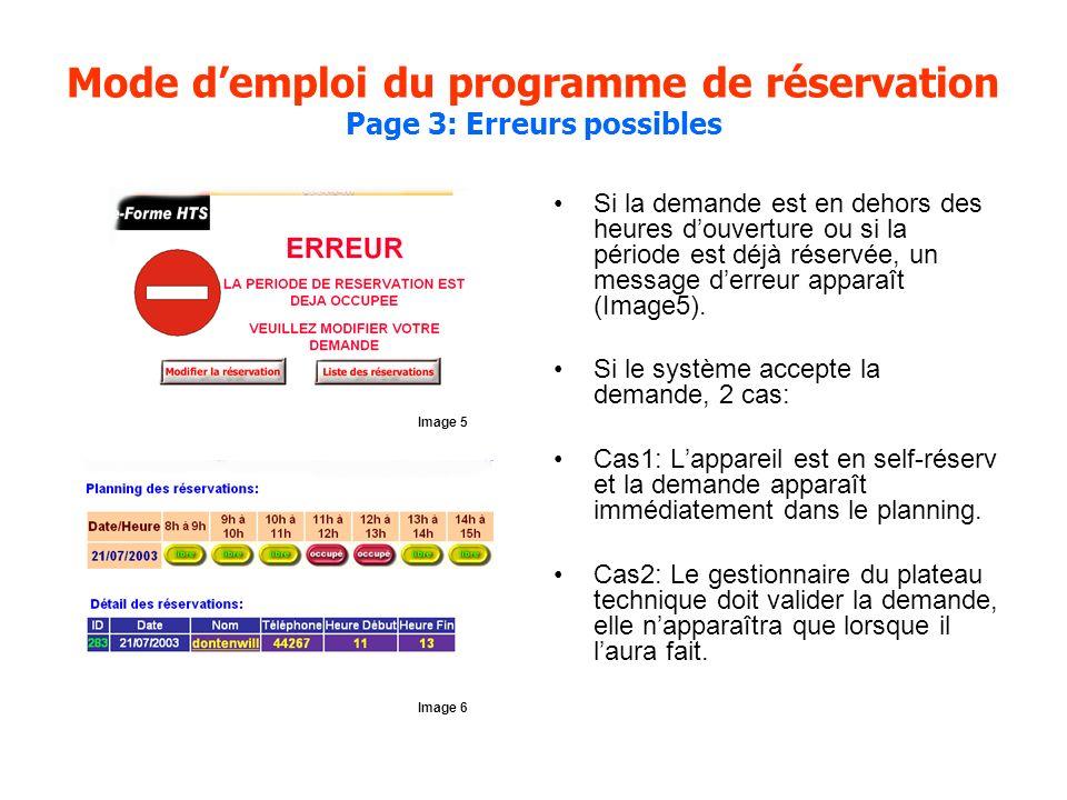 Mode demploi du programme de réservation Page 3: Erreurs possibles Si la demande est en dehors des heures douverture ou si la période est déjà réservé