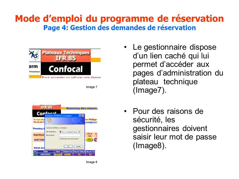 Mode demploi du programme de réservation Page 4: Gestion des demandes de réservation Le gestionnaire dispose dun lien caché qui lui permet daccéder aux pages dadministration du plateau technique (Image7).