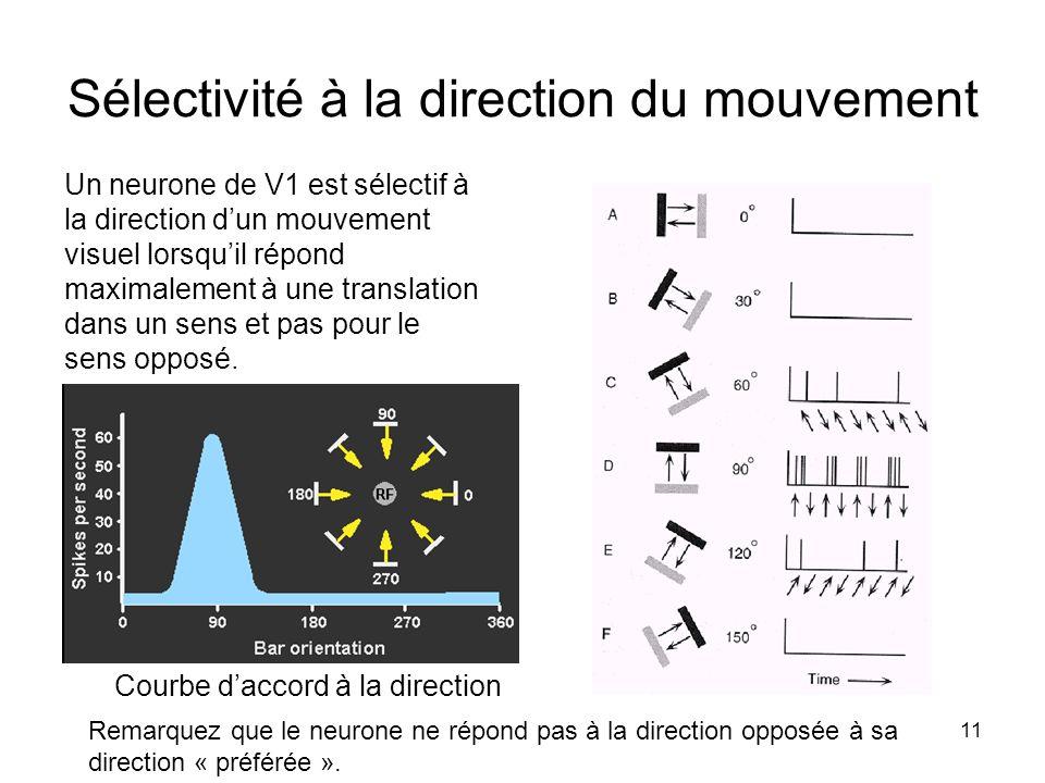 11 Sélectivité à la direction du mouvement Un neurone de V1 est sélectif à la direction dun mouvement visuel lorsquil répond maximalement à une transl
