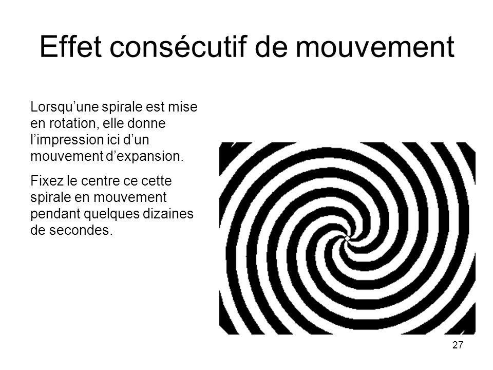 27 Effet consécutif de mouvement Lorsquune spirale est mise en rotation, elle donne limpression ici dun mouvement dexpansion. Fixez le centre ce cette