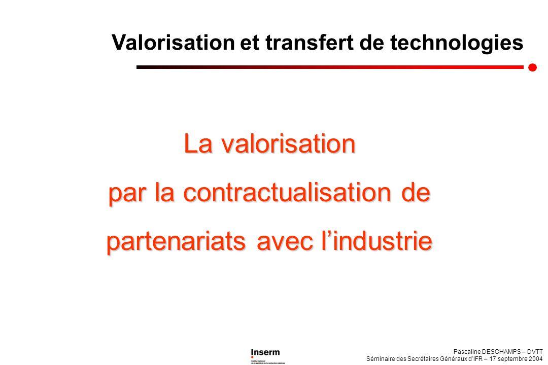 Pascaline DESCHAMPS – DVTT Séminaire des Secrétaires Généraux dIFR – 17 septembre 2004 Valorisation et transfert de technologies La valorisation par l