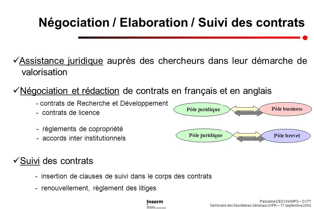 Pascaline DESCHAMPS – DVTT Séminaire des Secrétaires Généraux dIFR – 17 septembre 2004 Négociation / Elaboration / Suivi des contrats Assistance jurid