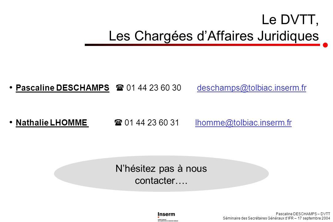 Le DVTT, Les Chargées dAffaires Juridiques Nathalie LHOMME 01 44 23 60 31 lhomme@tolbiac.inserm.fr Pascaline DESCHAMPS – DVTT Séminaire des Secrétaire