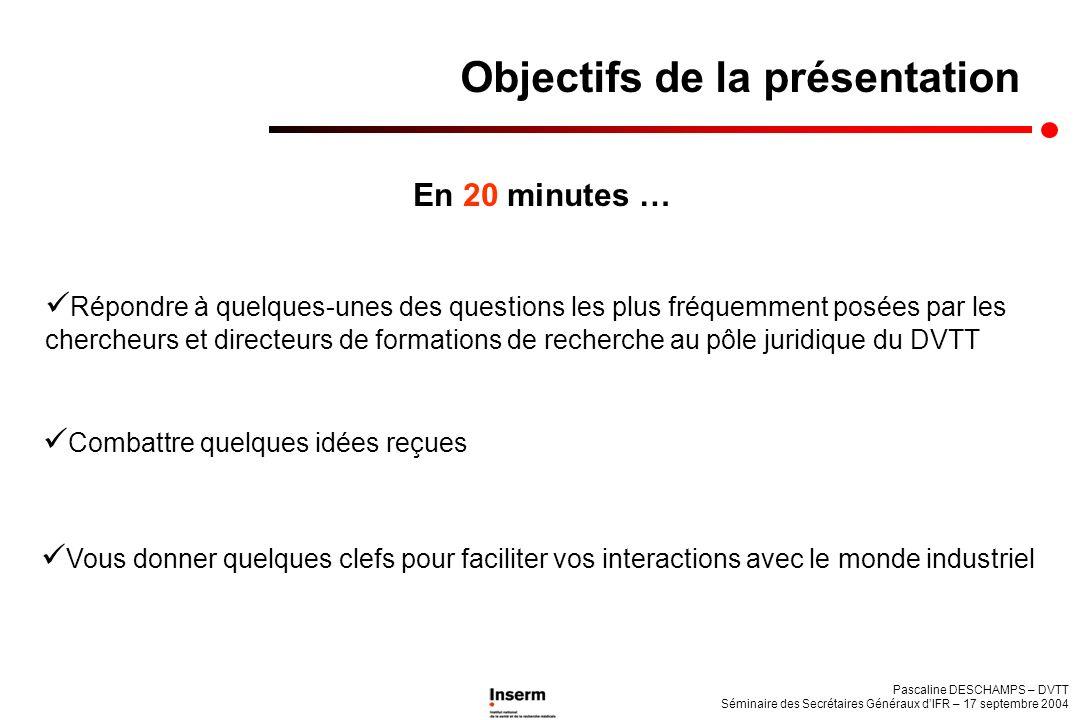 En 20 minutes … Objectifs de la présentation Répondre à quelques-unes des questions les plus fréquemment posées par les chercheurs et directeurs de fo