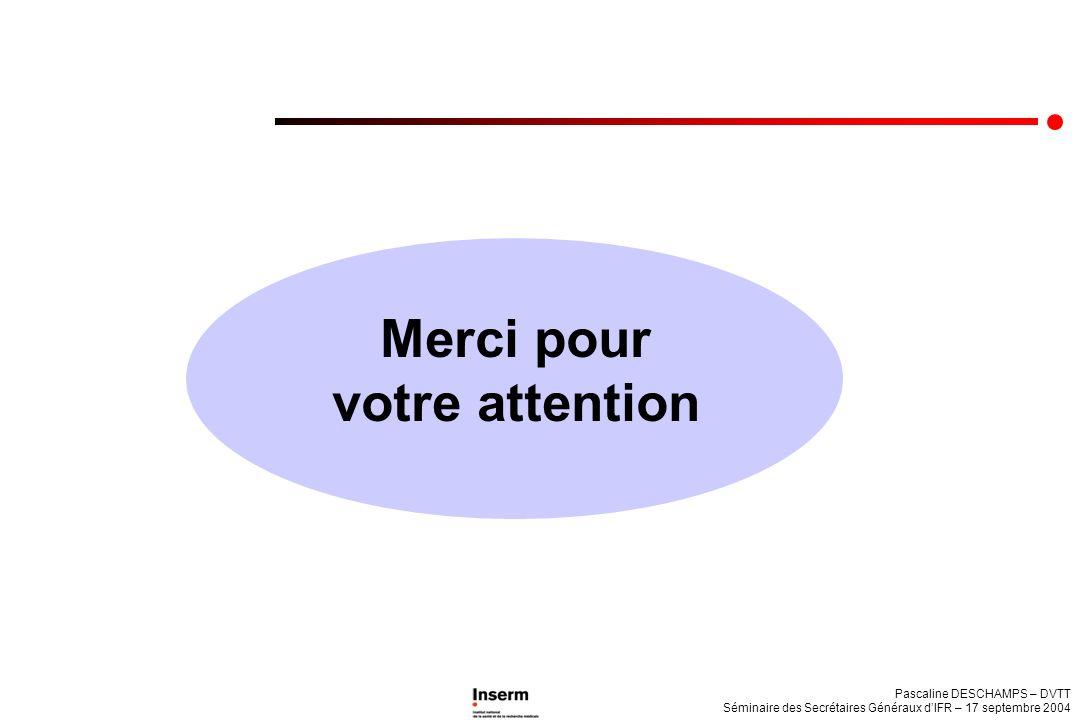 Pascaline DESCHAMPS – DVTT Séminaire des Secrétaires Généraux dIFR – 17 septembre 2004 Merci pour votre attention