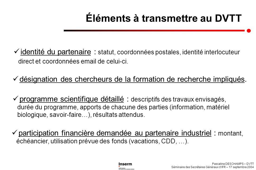 Pascaline DESCHAMPS – DVTT Séminaire des Secrétaires Généraux dIFR – 17 septembre 2004 identité du partenaire : statut, coordonnées postales, identité