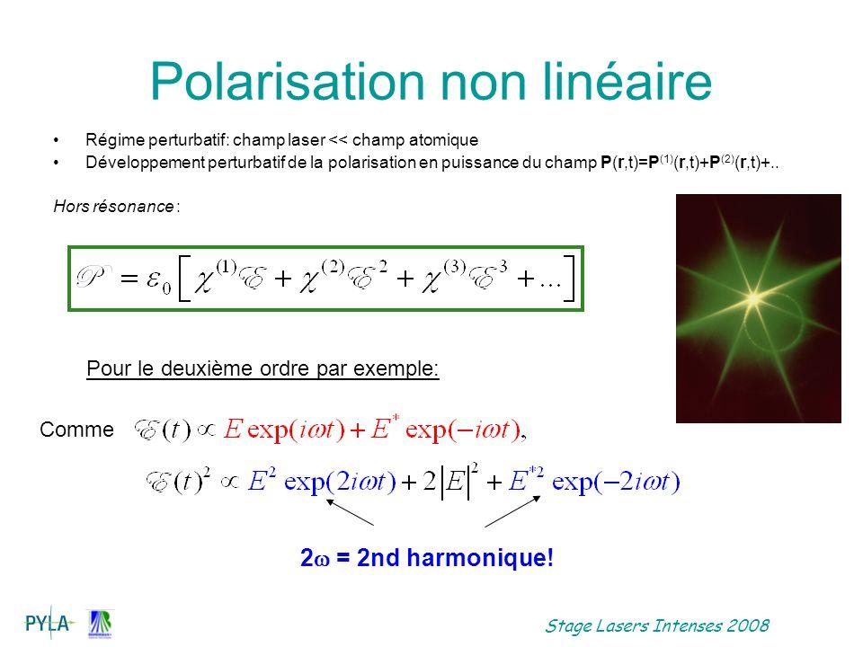 Stage Lasers Intenses 2008 Polarisation non linéaire induite –Flèches vers le haut: photon absorbé, champ E i.