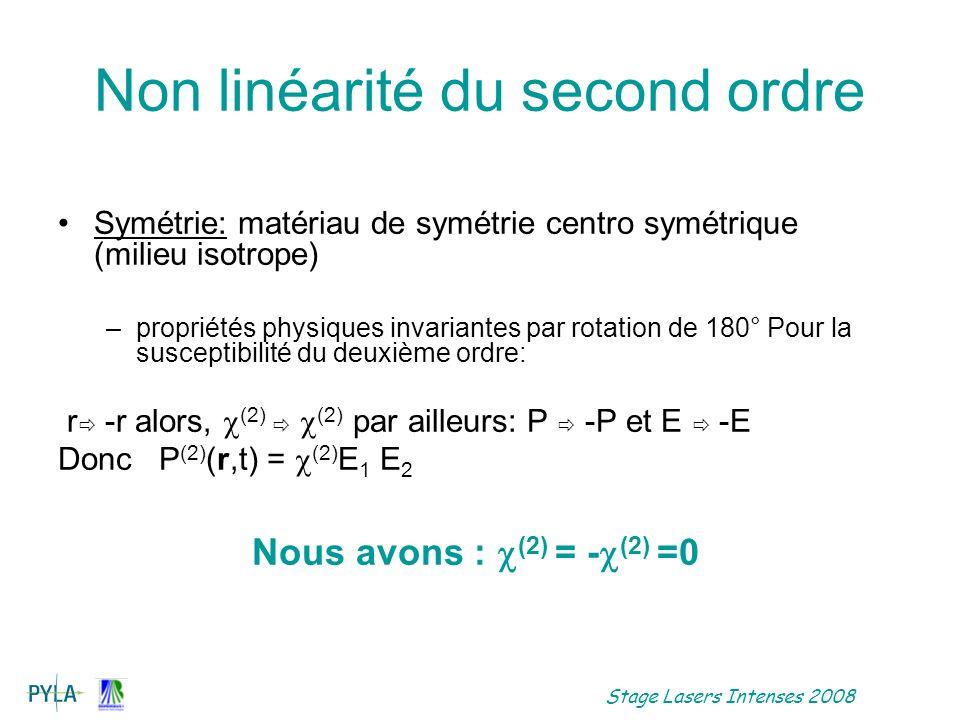 Stage Lasers Intenses 2008 Propagation en régime non linéaire Léquation de propagation a un terme source en plus: Résolution simplifiée : on néglige la double réfraction, Onde plane : les équations à résoudre pour un processus non linéaire sont couplées.