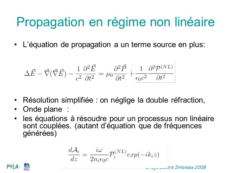 Stage Lasers Intenses 2008 Doublage de fréquence Les polarisations qui nous intéressent oscillent à la fréquence double du champ excitateur A 1 et à la fréquence simple Léquation de propagation pour londe harmonique sécrit: Léquation de propagation pour londe fondamentale: Avec k= 2k 1 -k 2 est le désaccord de phase.
