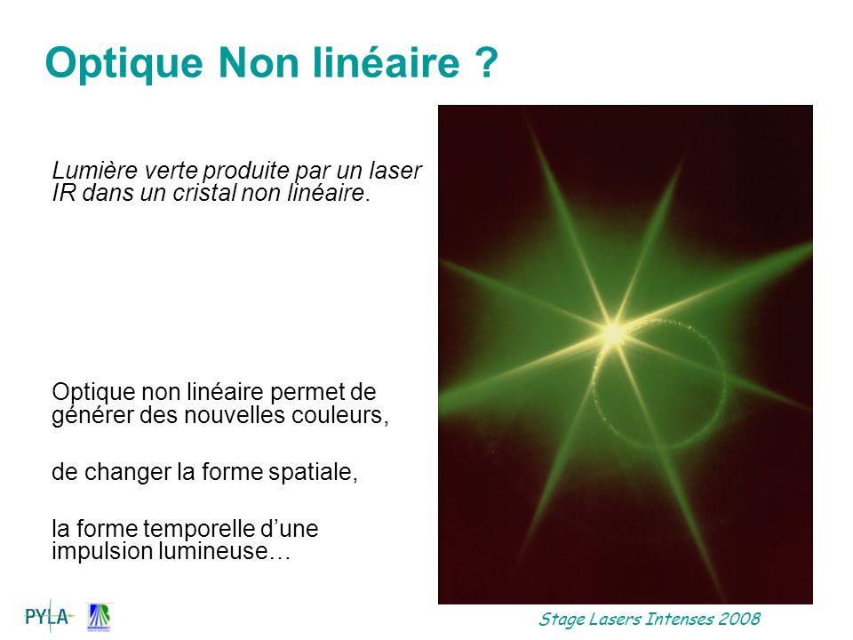Stage Lasers Intenses 2008 Polarisation induite Hypothèses du milieu: Homogène Localité Causalité –Expression de P: –Dans lespace réciproque